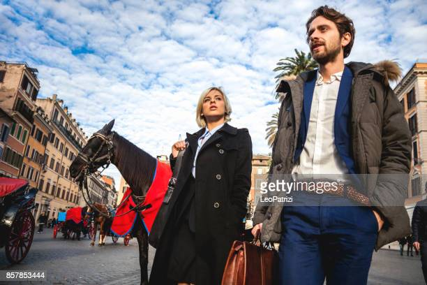 Business people in Rome old town city center