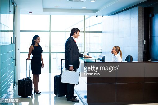 Business people in the hotel lobby