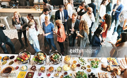 Business People Meeting Eating Discussion Cuisine Party Concept : Foto de stock