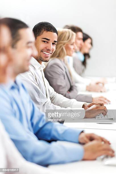 Business people on a computer class.