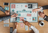 People playing a business board game on a wooden table, rolling dices and holding cards, top view
