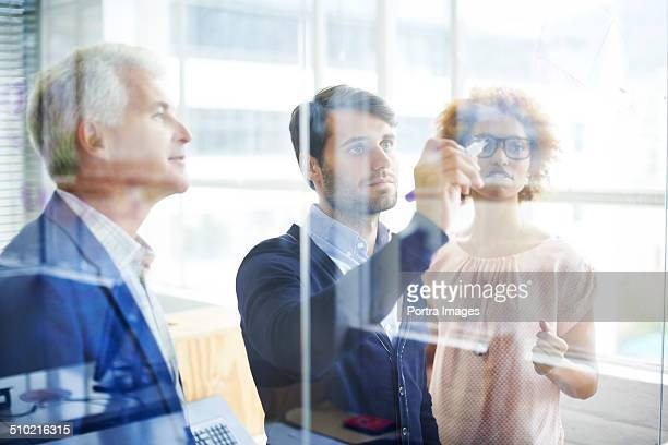 Business people preparing strategy on glass wall