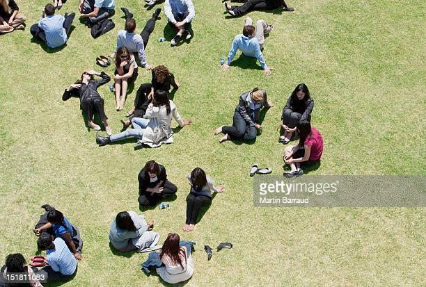 Geschäftsleute entspannen in einem sonnigen Feld