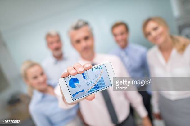 Business people showing online growth development