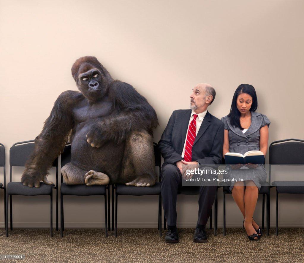 Business people sitting next to gorilla