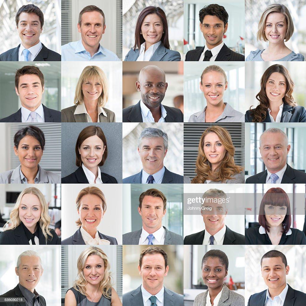 Geschäftsleute Lächeln-Portrait-Portraits Collage : Stock-Foto