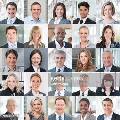 Geschäftsleute Lächeln-Portrait-Portraits Collage