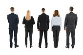 Full length rear view of business people standing against white background