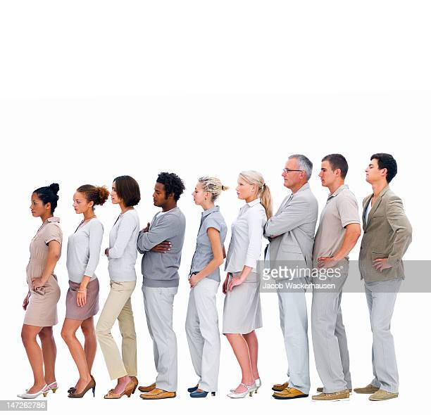 Business people standing in a row