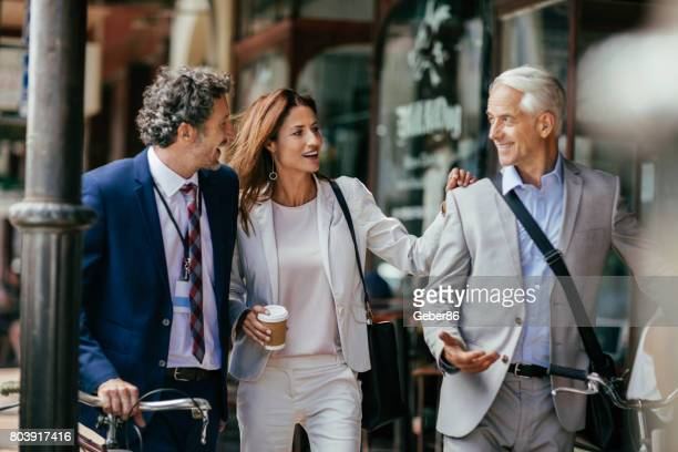 Business people talking on the street