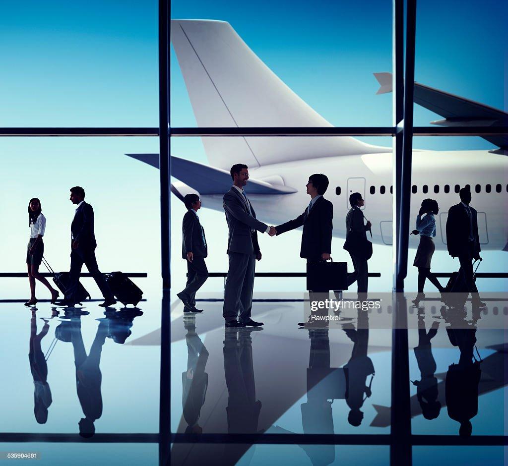 Business People Travel Handshake Airport Concept : Stock Photo