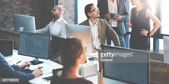 Business People Using Computer Working Concept : Stock Photo