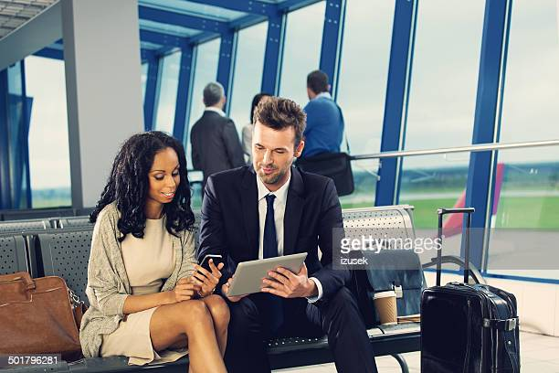 Business people waiting for flight