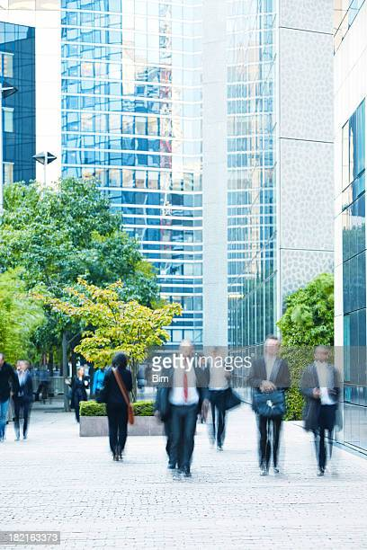 Business people walking in a  financial district, Paris, France