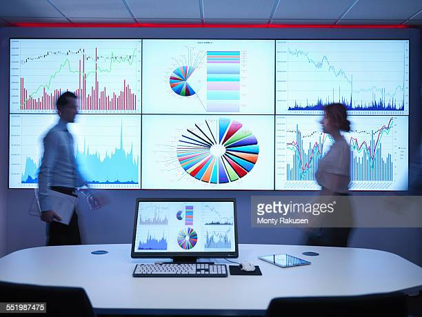 Business people walking in front of graphs on screen