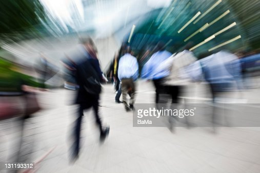 Business People Walking Towards Subway Station : Stock Photo