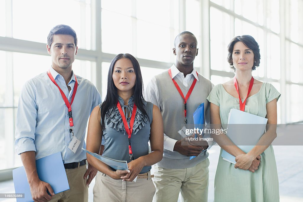 Business people wearing name tags