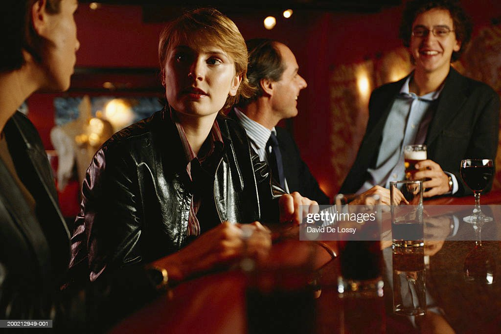 Business people with drinks : Stock Photo