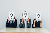 Business people with question mark on placards