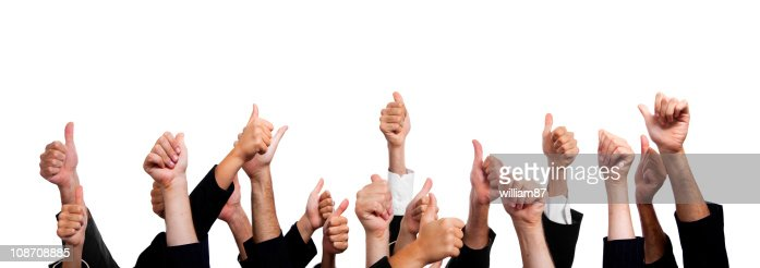 Business People with Thumbs Up on White Background. : Stock Photo