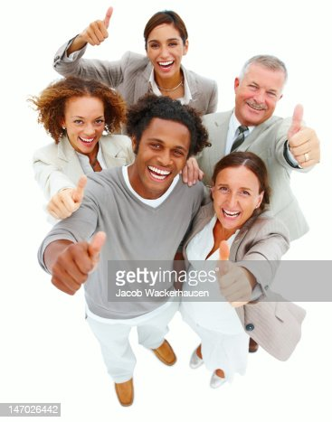 Business people with thumbs up sign