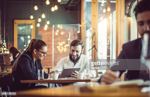 Business People Working at the Cafe Restaurant