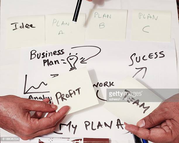 Business person showing adhesive note