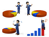 Business person who presents with graphs.  3D illustration.  multiple illustration set.