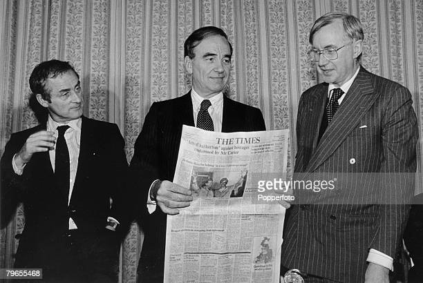 22nd January 1981 Rupert Murdoch centre the new owner of Times Newspapers flanked by two of his editors Harold Evans left and William Rees Mogg right...