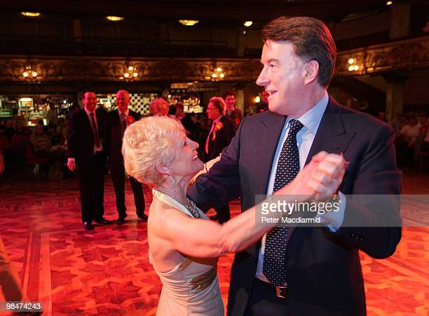 Business Secretary Lord Mandelson dances at The Tower Ballroom with 67 year old Hannah Mackenzie on April 15 2010 in Blackpool England The General...