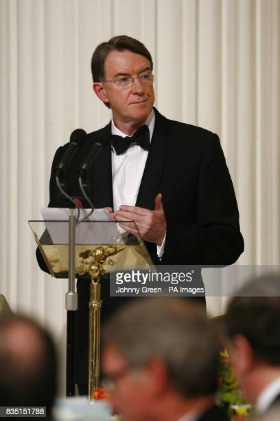 Business Secretary Lord Mandelson delivers a speech at the annual Trade and Industry Dinner at Mansion House in the City of London hosted by the Lord...