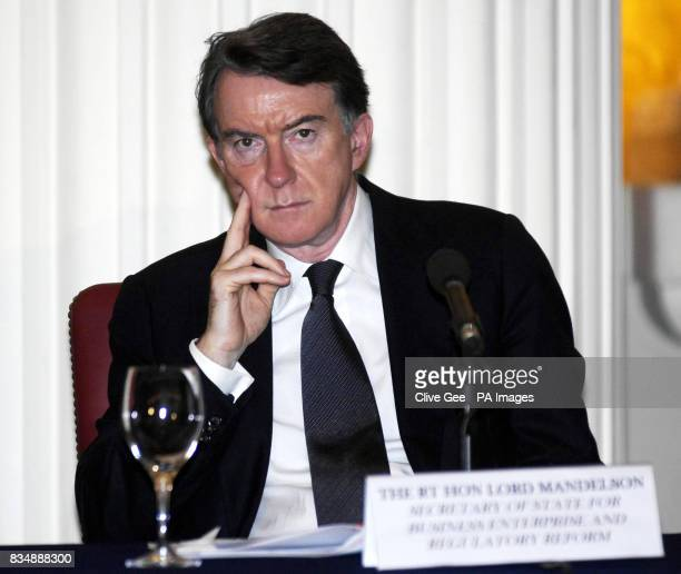 Business Secretary Lord Mandelson during a speech by Israeli President Shimon Peres at Mansion House in London after Mr Peres received an honorary...