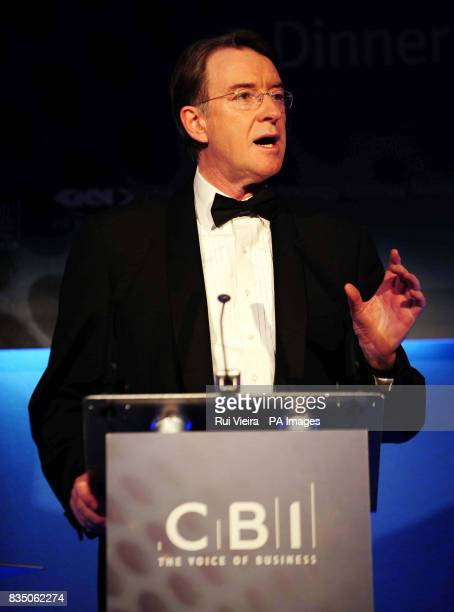 Business Secretary Lord Mandelson during a speech to the CBI's manufacturing dinner at the Hilton Metropole Hotel in Birmingham