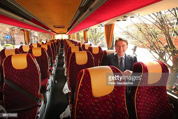 Business Secretary Lord Mandelson sits on the Labour party election campaign 'battle bus' on April 15 2010 in Manchester England The General Election...