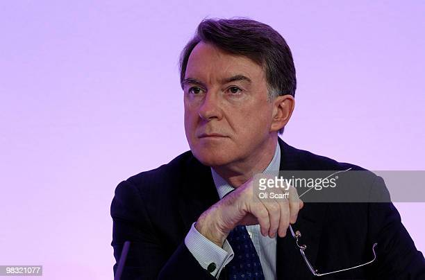 Business Secretary Lord Mandelson waits to speak during the Labour party's first press conference of the election campaign in Westminster on April 8...