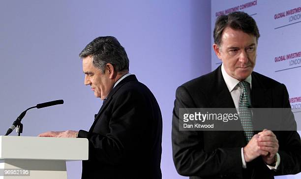 Business Secretary Peter Mandelson and British Prime Minister Gordon Brown speak at the Global Investmnent Conference at the Saatch Gallery on...