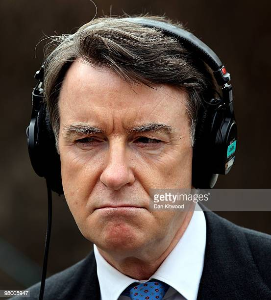 Business Secretary Peter Mandelson speaks to the press on College Green on March 24 2010 in London England In Parliament today the Chancellor of the...