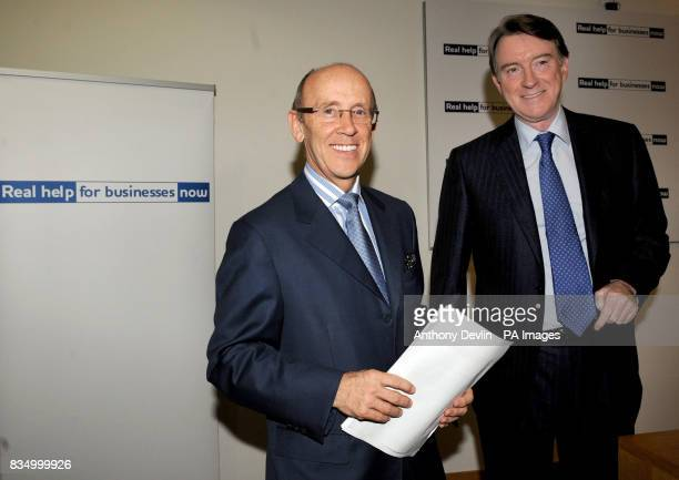 Business Secretary Peter Mandelson with chairman of Standard Chartered Bank Mervyn Davies as he is made Minister of State in Lord Mandelson's...