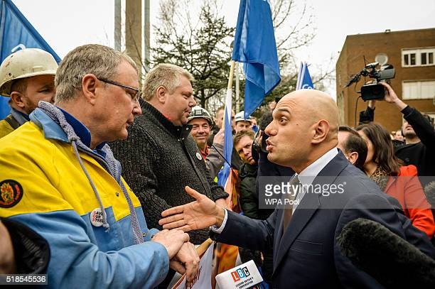 Business secretary Sajid Javid visits Tata steel works on April 1 2016 in Port Talbot Wales Owners Tata Steel have put its British business up for...