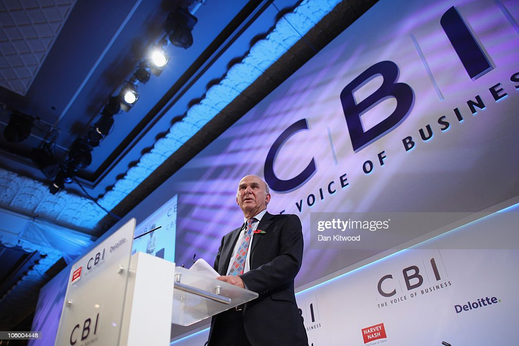 Business Secretary <a gi-track='captionPersonalityLinkClicked' href=/galleries/search?phrase=Vince+Cable&family=editorial&specificpeople=4872939 ng-click='$event.stopPropagation()'>Vince Cable</a> addresses Confederation of British Industry (CBI), members at the annual CBI conference at the Grosvenor Hotel on October 25, 2010 in London, England. The CBI conference brings together leading politicians and business experts to discuss ways of delivering economic growth.