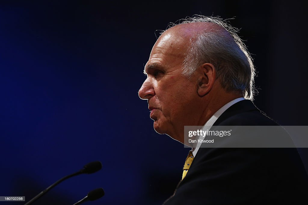 Business Secretary <a gi-track='captionPersonalityLinkClicked' href=/galleries/search?phrase=Vince+Cable&family=editorial&specificpeople=4872939 ng-click='$event.stopPropagation()'>Vince Cable</a> speaks to conference during his key-note speech at the SECC, Scottish Exhibition and Conference Centre on September 16, 2013 in Glasgow, Scotland. Deputy British Prime Minister and Leader of the Liberal Democrats Nick Clegg has denied any suggestions of a rift between him and his Cabinet colleague Business secretary <a gi-track='captionPersonalityLinkClicked' href=/galleries/search?phrase=Vince+Cable&family=editorial&specificpeople=4872939 ng-click='$event.stopPropagation()'>Vince Cable</a> over the Liberal Democrats future economic policy.