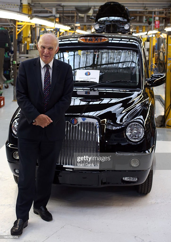 Business secretary, <a gi-track='captionPersonalityLinkClicked' href=/galleries/search?phrase=Vince+Cable&family=editorial&specificpeople=4872939 ng-click='$event.stopPropagation()'>Vince Cable</a> stands besides a brand new TX4 (Euro 5) London Taxis inside the factory of The London Taxi Company on September 11, 2013 in Coventry, England. The business secretary, <a gi-track='captionPersonalityLinkClicked' href=/galleries/search?phrase=Vince+Cable&family=editorial&specificpeople=4872939 ng-click='$event.stopPropagation()'>Vince Cable</a>, officially restarted the production line of the iconic TX4 black cabs today, six months after the company behind the famous vehicles was rescued by the Chinese company Geely Group.