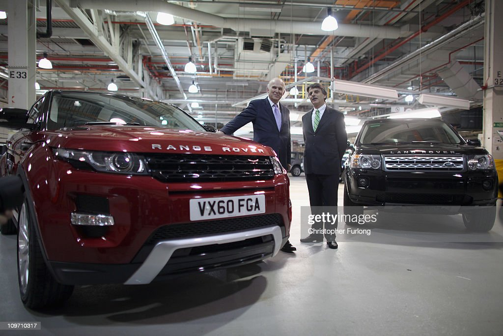 Business Secretary Vince Cable (L) tours the Jaguar Land Rover Halewood assembly plant with company CEO Ralf Speth on March 2, 2011 in Halewood, England. During his tour the company announced over £2 billion worth of supply contracts to more than 40 companies in the UK for its new Evoque model creating 1,500 new jobs. The Range Rover Evoque is due to go on sale this Summer.