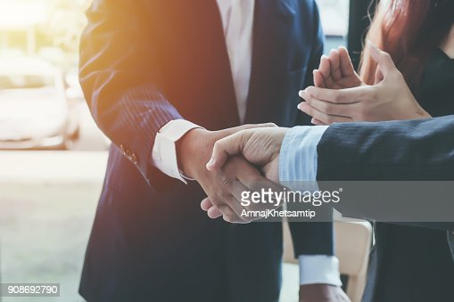 Business shaking hands. Business executives to congratulate the joint. : Stock Photo