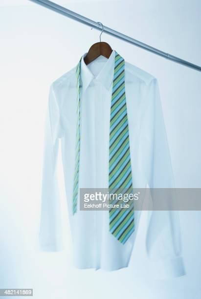 Business shirt and tie on hanger