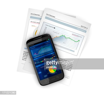 business stocks on mobile smartphone