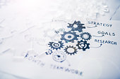 Many sketches and  gear shaped objects on white paper representing a business strategy