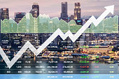 Business successful financial investment in real estate and tourism stock market data index research and analysis background.