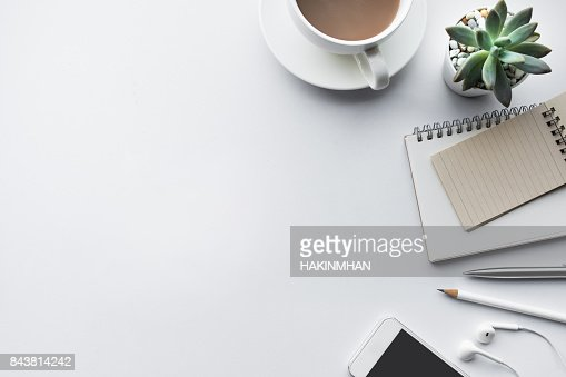 Business table top with mock up office supplies on white : Stock Photo