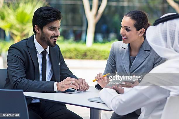 Business talking in Dubai